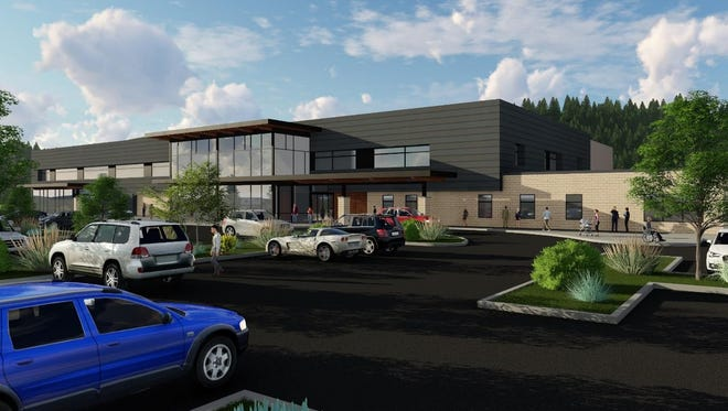 Commissioners were given an architect's rendering of the proposed new entry to the Lincoln County Medical Center.