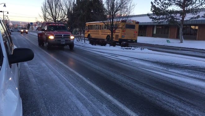 An icy road at Wells Avenue and Crampton Street on Tuesday, Feb. 27, 2018.