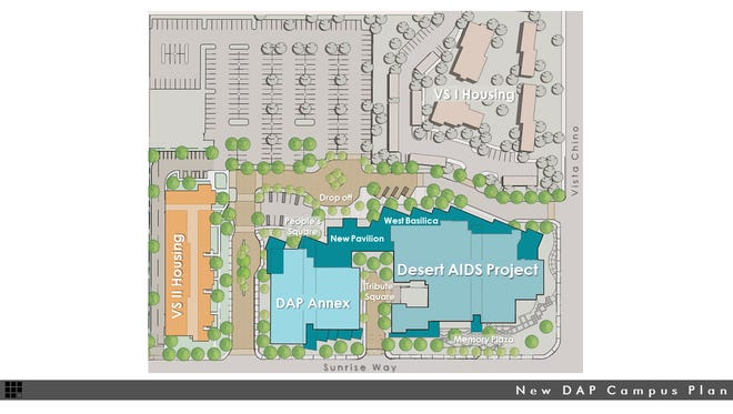 An overview of the campus expansion planned for Desert AIDS Project in Palm Springs.