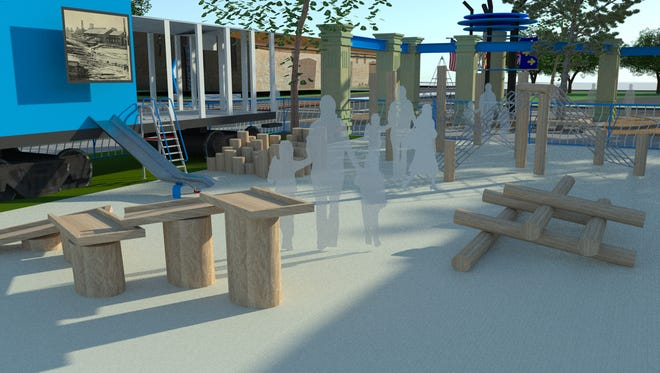 A rendering shows the design of the UWF Historic Trust's new Interactive Early Learning Playground, which will be located at Museum Plaza in downtown Pensacola.