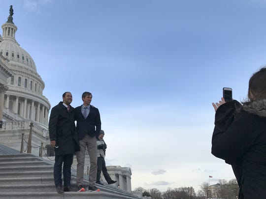 Rep. Will Hurd, R-Texas, left, Rep. Beto O'Rourke,