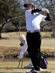 Merkel's Colton Hilburn tees off from No. 17 during the Wylie Invitational at the Abilene Country Club's Fairway Course on Wednesday, March 7, 2018.