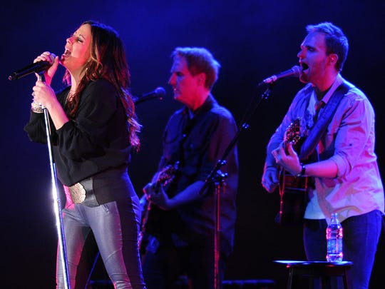 Country music artist Sara Evans performs at the NRA