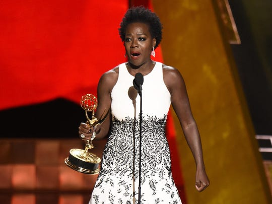 "Viola Davis accepts the award for outstanding lead actress in a drama series for ""How to Get Away With Murder""at the 67th Primetime Emmy Awards on Sunday at the Microsoft Theater in Los Angeles."