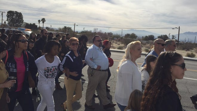 Desert Hot Springs High School leaders and students participate in a Peace and Unity Walk on Martin Luther King Jr. Day.