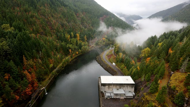 The Santiam River flows from the Detroit Dam, Friday, October 30, 2015, in Detroit, Ore.