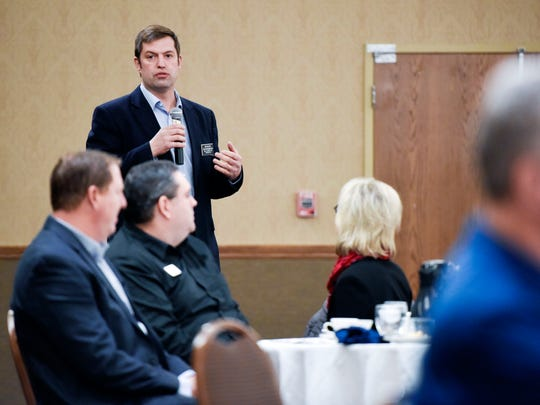 Rep. Dan Ahlers (D-Dell Rapids) speaks during the Good Morning Sioux Falls Legislative Breakfast hosted by the Sioux Falls Area Chamber of Commerce on Thursday, Jan. 4, 2017. Legislators and business leaders rubbed shoulders at the event which aimed to let local lawmakers explains their legislative priorities before the 2018  session.