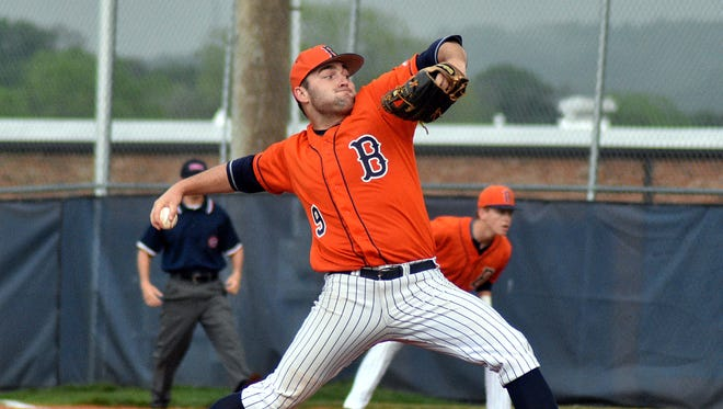 Beech senior Dalton Hall combined with three others to pitch a three-hit shutout at Portland on Tuesday.