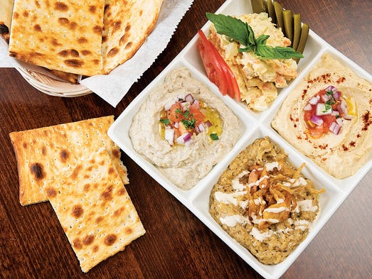 appetizer combo platter with hummus, babaganoush and