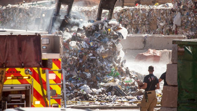 The St. George Fire Department responds to a fire at Rocky Mountain Recycling Wednesday, June 6, 2018.
