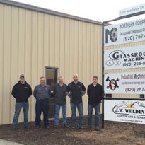 The owners of J.W. Welding, Grassroots Machining, Industrial Machine Services and Northern Compressor, which share space in the Town of Menasha. From left are Jason Harold, Chuck Duginski, Gregg Jansen, Nick VanderHeyden and Cody Wagner.