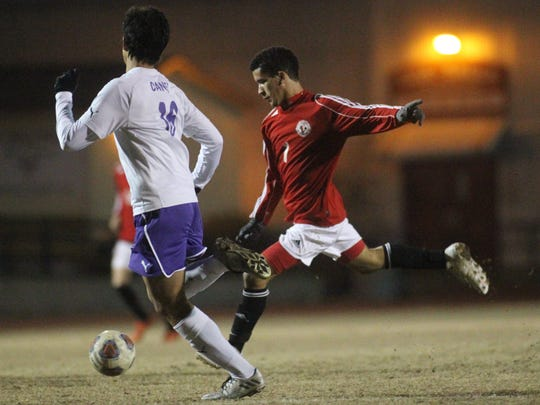 Leon's Sy Fontenot takes a shot. The Lions needed PKs to advance past Gainesville during last year's district tournament.