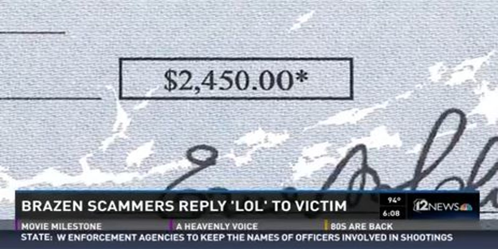 Usaa Cashiers Check >> Internet Fraudsters Reply Lol To Scam Victim