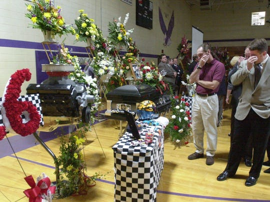 More than 600 people attending the funeral for Tony Roper, at the Fair Grove High School gym, after his death in October of 2000.