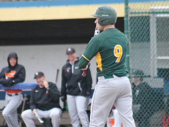 McNicholas senior Jackson Haas steps to the plate for the Rockets at Midland.
