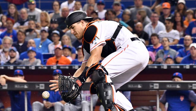 J.T. Realmuto had a .452 on-base percentage through Sunday, justifying the Marlins' decision to use their catcher near the top of the batting order, something not many teams do.
