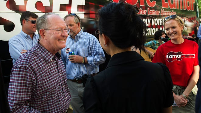 Sen. Lamar Alexander talks to supporters during a rally in front of his campaign headquarters on Monday, July 28, 2014, on Music Row in Nashville.