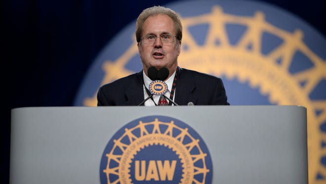 Gary Jones, new UAW president, gives his first speech on the final day of the convention at Cobo Center.