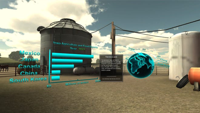 A screen shot from the Register's virtual reality project Harvest of Change.