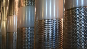 Stainless steel fermentation tanks.