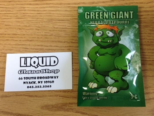 "This product, called ""Green Giant,"" is one of the dangerous designer drugs allegedly sold by Liquid Glass Shop in Nyack, according to the state Attorney General's Office."