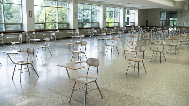 As students returned to the St. John's High School campus, a cafeteria was set up for dining, and also as classroom space, in a September file photo.