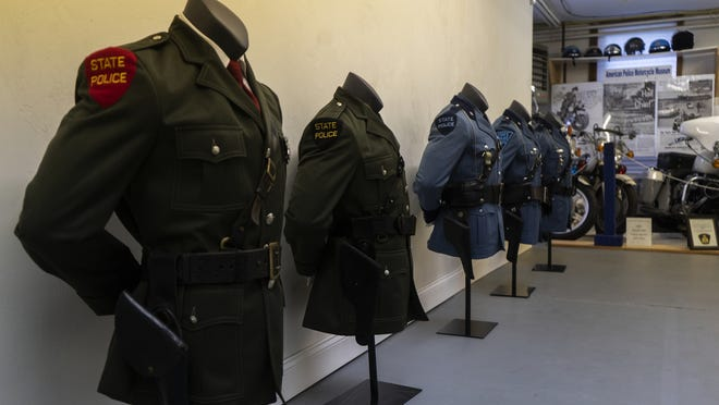 The Massachusetts State Police Museum displays a collection of past uniforms from Massachusetts State Police on July 14.
