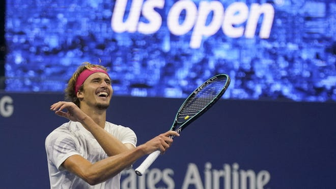 Alexander Zverev celebrates his victory over Pablo Carreño Busta after their semifinal match Friday.