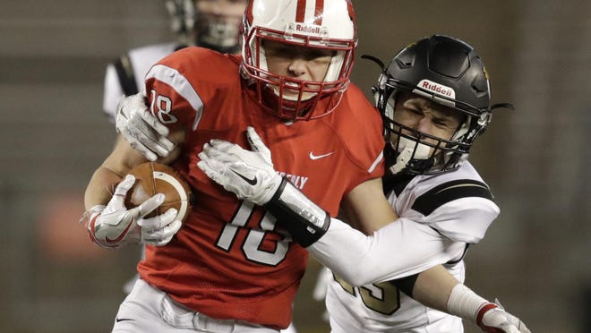 Kimberly's Alex Warzyn returns an interception against Franklin in the Division 1 state championship game in Madison.