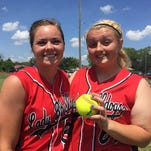 Home runs by Regan Green, left, on the first pitch she saw in the first inning and Kelsie Joseph in the fifth inning keyed Laurel's 8-0 win over Padua Tuesday.