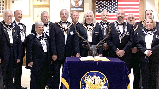 Rochester Elks Lodge #1393 formally installed a new slated of officers for the 2020-2021 lodge year in ceremonies at the lodge hall on Columbus Avenue.  From left, front are Don Chesnel, PER, PDD, PSP, PGLC, Lodge Inner Guard; Jeanne Bernard, PER, Lodge Tiler; Jerry Skidds, PER, Esteemed Leading Knight, DDGER, NH South; Bonnie Skidds, Exalted Ruler; Matt Sanborn, Esteemed Lecturing Knight; Janice Tagen, Lodge Chaplain; back Row, Tom Ducharme, PER, Esquire; Harry Tagen, Lodge Trustee; Norman Gervais, PER, Lodge Secretary; Richard Cliché, PER, Lodge Trustee; Jim Clark, PER, Lodge Trustee and Scott Welch, PER, Lodge Trustee. Not pictured are Jason Parker, PER, Installing Chaplain of the Day and Hal Ellingwood, Lodge Trustee.