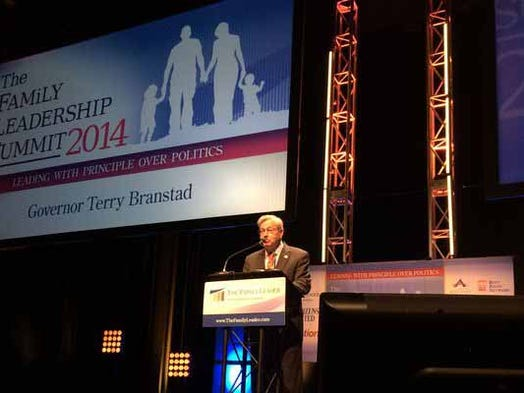 Gov. Terry Branstad spoke Saturday, Aug. 9, 2014, at the Family Leadership Summit in Ames.