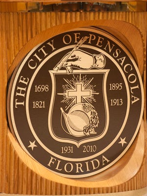 The city seal is pictured on July 7, 2016, in the Pensacola City Council Chambers.