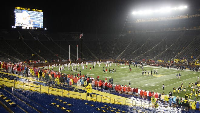 After a over two hour delay University of Michigan and  Utah completed their game on Saturday, September 20, 2014 at Michigan Stadium in Ann Arbor.