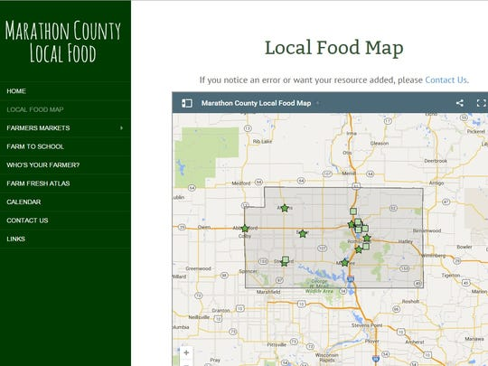 The Marathon County Health Department launched a local food website this past week. Above is a screenshot of the website, taken on Oct. 2, 2015.