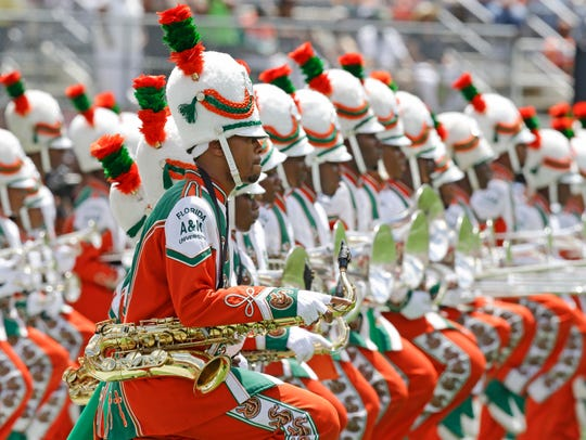 The Florida A&M University band performs Sunday, Sept.