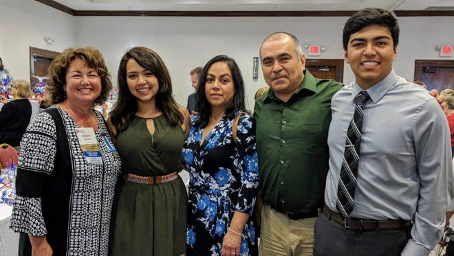 Central High School student Javier Onate is shown at the 2018 State DAR convention with Paul Revere Chapter Regent Jennie Irving and his parents, and sister.
