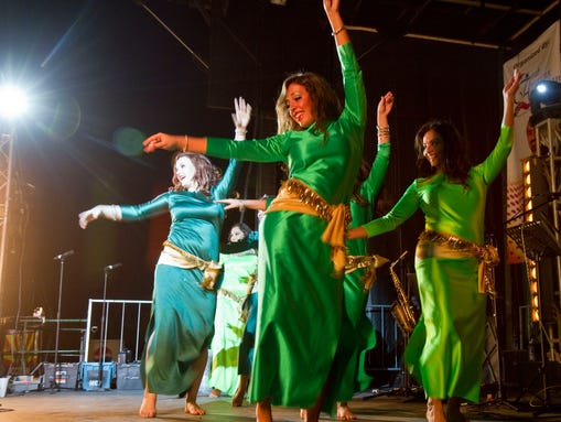 Members of Raqs Sharki Movement Collection performs