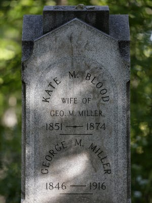 The tombstone of Kate Blood draws visitors to Riverside Cemetery in Appleton.