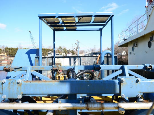 The AWECT (Articulating Wave Energy Conversion Team) barge is being built so with the use of wave energy they can take salt water and produce fresh water. Thursday, Feb. 8, 2018.