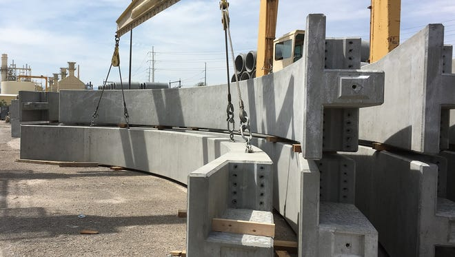 The precast arches that will be placed at Exit 118 on Monday night in Mesquite