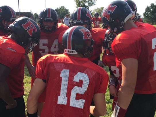 Rossview huddles its offense during practice earlier