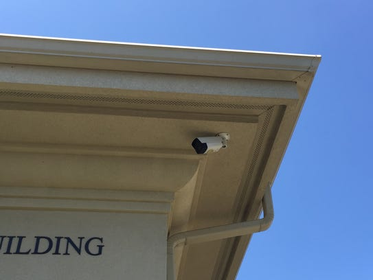A security camera on the front of Congregation Shaare