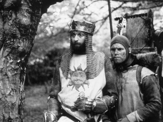 """Graham Chapman and Terry Gilliam in """"Monty Python and the Holy Grail."""""""