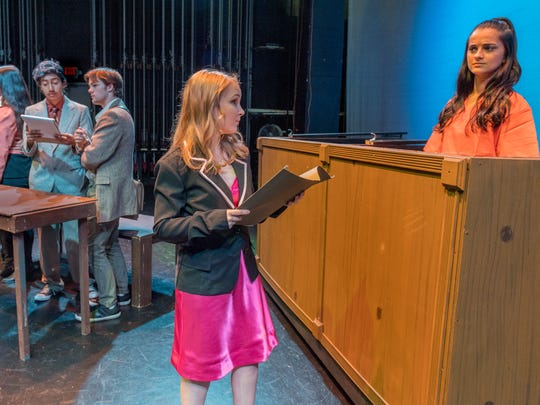 "Faith Aguilar, right, Kylah Olsen, Job Whetstone, Mark Moreno II, Ariana Flores and Daniel Jacobo rehearse for Mt. Whitney High School's production of ""Legally Blonde"" at LJ Williams Theatre on Thursday, February 8, 2018."
