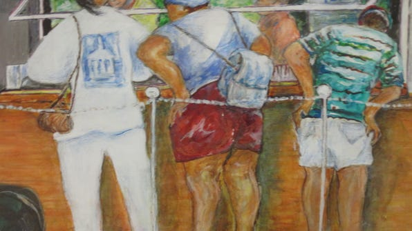 """""""Lunch at Poseys"""" is on display at the Tallahassee Senior Center as part of """"Personal Expressions: An Exhibition of Watercolors."""""""