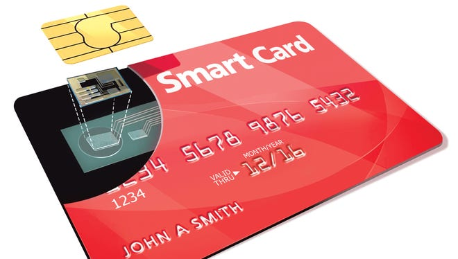 New credit and debit cards have a small chip in the upper left corner that new card readers are able to use.