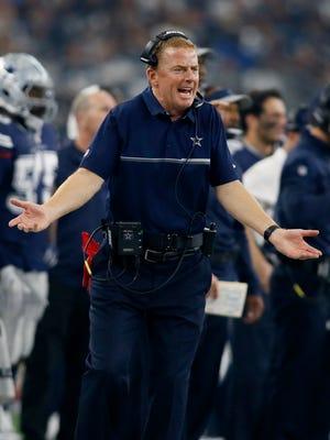 Dallas Cowboys head coach Jason Garrett reacts to a call in the first quarter against the Washington Redskins at AT&T Stadium.