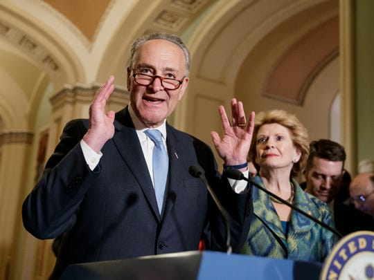 Senate Minority Leader Chuck Schumer, D-N.Y., (left) with Sen. Debbie Stabenow, D-Mich., speaks on Capitol Hill before President Donald Trump's speech to the nation Tuesday, Feb. 28, 2017 in Washington.