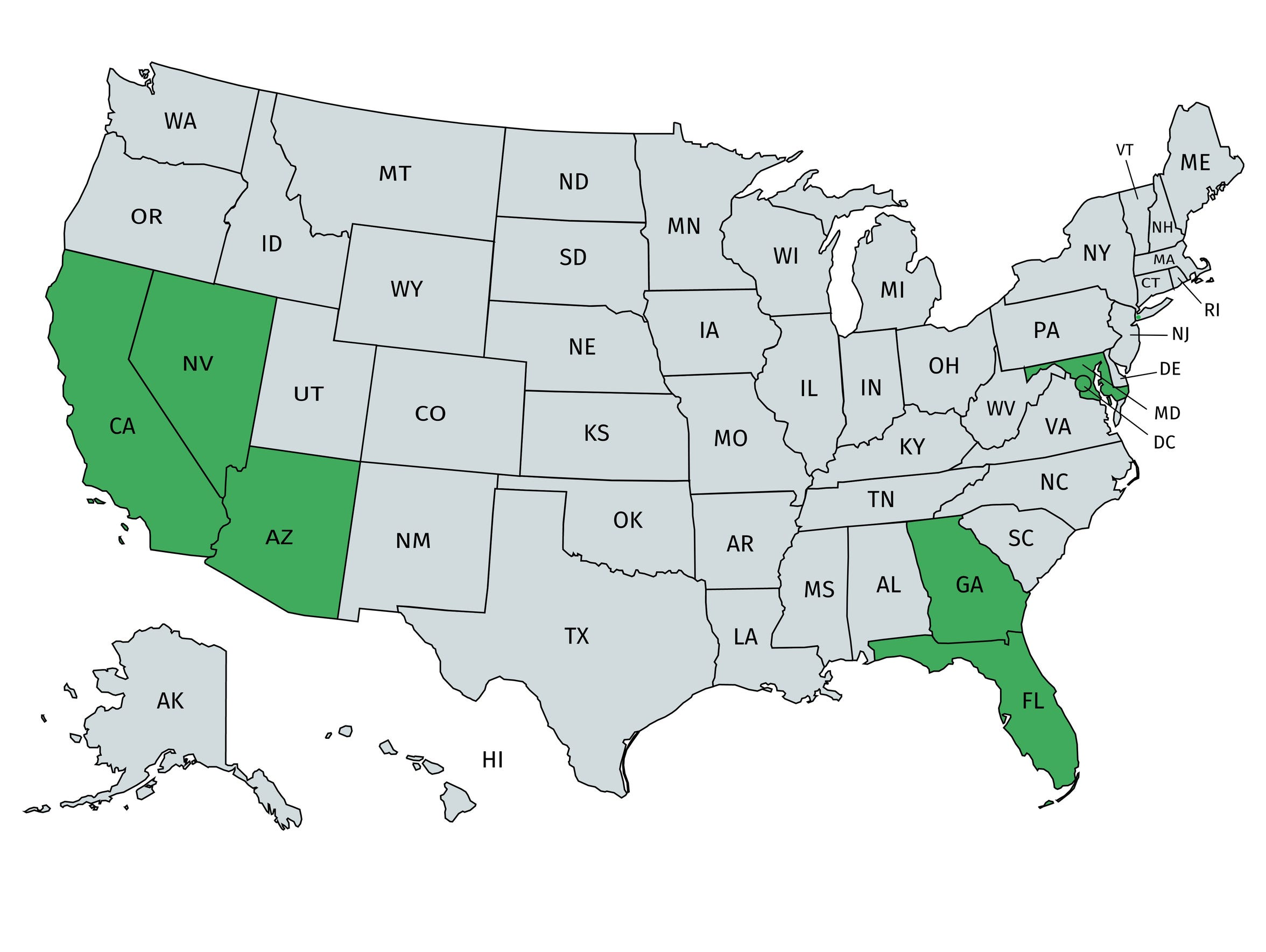 The states in green (California, Nevada, Arizona, Florida,